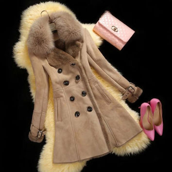 M-Xxxl New Fashion 2015 Winter Coat Women Long Faux Suede Overcoat Ladies Thick Warm Lamb Wool Outerwear Casaco Feminino A649