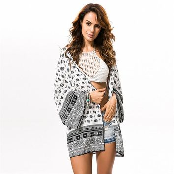 Womens Tops and Blouses Summer Kimono Cardigan Women Elephant Print Kimonos Boho Clothing Beach Tribal Print Blouses