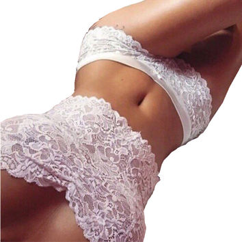 Gagaopt   Women Sexy Lace Tops & Briefs White Bikini Sexy Lingerie Crop Top Harajuku Bra Sets Swimsuit Beach Bathing Suit