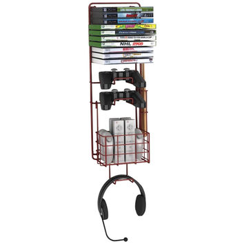 Wall Mount Game Rack, Space-saving, wall-mounted video game, game controller & g
