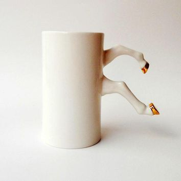 White Ceramic Mug With Gold Hooves Porcelain White Pottery Modern Ceramic Design By Barceramics Ceramics And Pottery