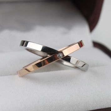 Size 9 2 in1 rhinestone double ring 316L Stainless Steel finger rings women jewelry  lotsTING JEWELRY STORE