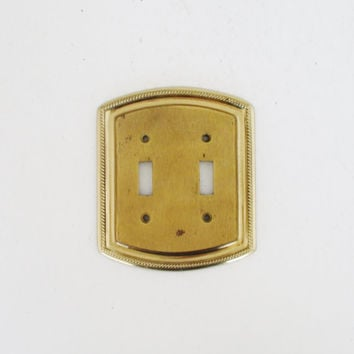 Light Switch Cover Double Mid Century Brass Light Switch Cover Nautical Light Switch Plate Vintage Double Brass Light Switch Cover