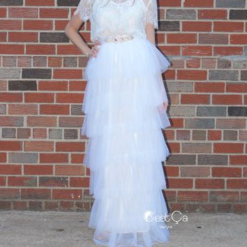 Odette Snow White Tiered Tulle Skirt - Maxi