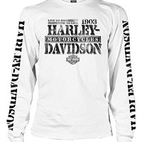 Harley-Davidson Men's Distressed Freedom Fighter Long Sleeve Shirt, White