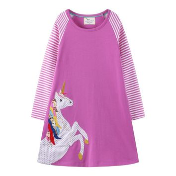 Jumping meters baby girls dresses unicorn cotton frocks casual spring autumn  new design cute girl dresses children clothing