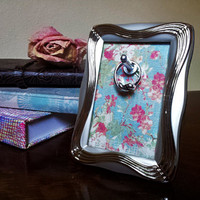 Mini Ring or Key Holder Silver Floral Frame, Changeable Picture