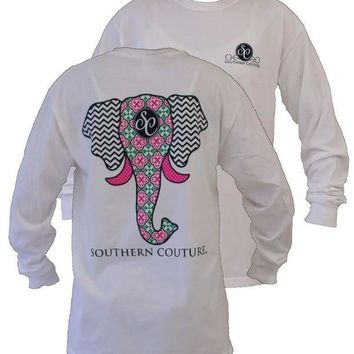 DCCKLM3 Southern Couture Preppy Elephant Chevron Pattern Comfort Colors White Girlie Long Sleeve Bright T Shirt