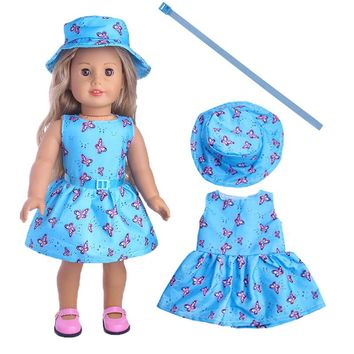 Blue 1set=Hat+Dress+belt Clothes For American Girl Doll 18 Inch Doll Clothes And Accessories LT1150