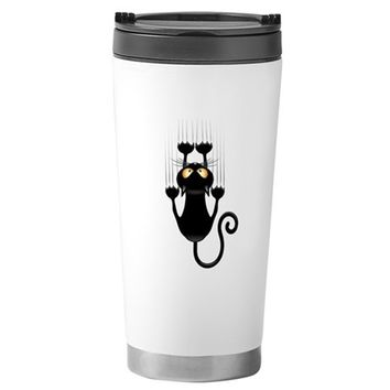 BLACK CAT CARTOON SCRAT STAINLESS STEEL TRAVEL MUG