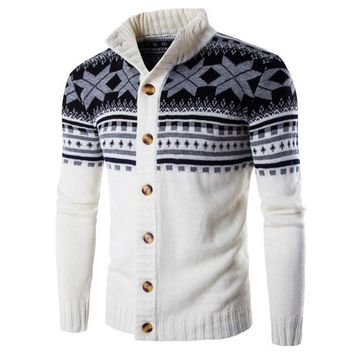 Stylish Men's Sweater Warm Winter Cardigan Knitted Vintage Ethnic Style Long Sleeve Button Sweaters Christmas Pullovers Hombre