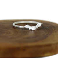 Halloween bat ring - sterling silver stacking ring - dainty - s