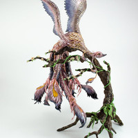 FREE SHIPPING Phoenix Statue bird OOAK Sculpture Figurine Figure Fantasy Animal Fire bird Purple Violet Creature