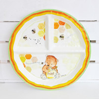 Baby Cie Sweet as Honey Round Textured Sectioned Plate for Baby