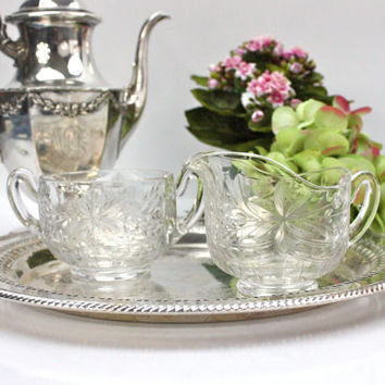 Crystal Creamer and Sugar Bowl / Elegant / Tea Time