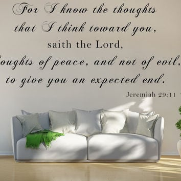 Jeremiah 29:11 KJV Vinyl Wall Scripture For I Know The Thoughts That I Think Toward You