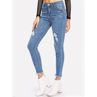 Dirty Martini Please Ripped Jeans - Blue