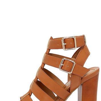 Great Adventure Tan Caged Heels