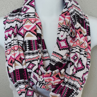 Pink and Orchid Aztec Fashion Infinity Scarf Spring Aztec Scarves Ethnic Scarf Tribal Print Scarves