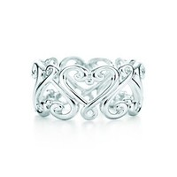 Tiffany & Co. -  Paloma's Venezia Goldoni heart band ring in sterling silver.