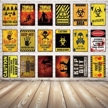 [ Kelly66 ] Beware Zombie Danger Funny Metal Sign Festival Party Poster public Decor Bar Wall Art Painting 20*30 CM Size Dy30