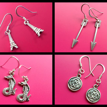 Cobra earrings Arrow earrings Eiffel Tower earrings Celtic Knot earrings Harry Potter inspired Basilisk earrings Snake earrings Supernatural