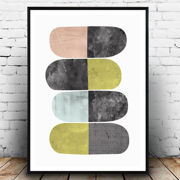 Abstract art, Mid century modern, watercolor print, geometric print, scandinavian art, minimalist art, home decor, wall art, watercolor art
