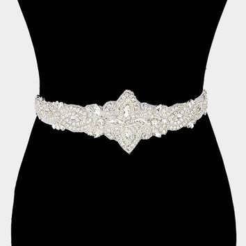 Glass crystal rhinestone wedding belt #WB6824