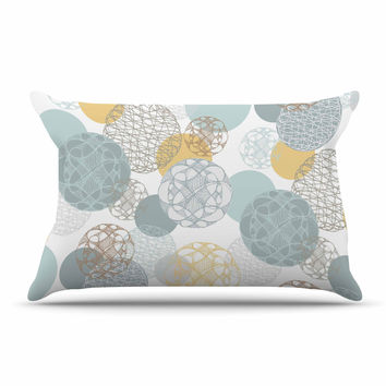 "Maike Thoma ""Floating Circles Design"" White Blue Pillow Sham"