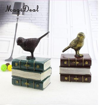 Bird Stand on Books Vintage Resin Piggy Banks Coin Money Savings Storage Box Piggy Bank Kids Adults Birthday Christmas Xmas Gift