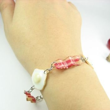 Breakfast Bracelet Bacon and Eggs Bracelet - Food Jewelry