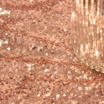 60 Ft. Fabric Bolt Rose Gold Blush Sequin Cloth Champagne Sequin TableCloth Wholesale Dress Cloths Sparkly Champagne Table Sequin Linens