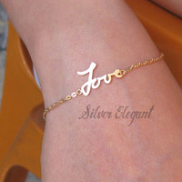 Signature Bracelet - Personalized Name Bracelet - Handwriting Signature -  Mother's Day Gift - Sterling Silver / 18K Gold Plated
