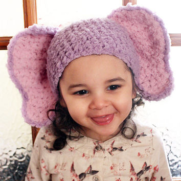CHRISTMAS SALE 12 to 24m Girl Elephant Hat, Crochet Baby Hat, Baby Elephant Beanie, Toddler Animal Hat, Lilac Pink Elephant Ears Photo Prop