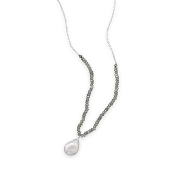 "16""+2"" Labradorite and Baroque Pearl Drop Necklace"