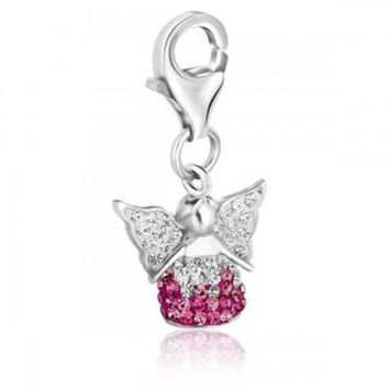 ac NOVQ2A Sterling Silver Multi Tone Crystal Accented Angel Charm