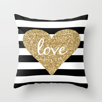 Love in a Gold Heart Throw Pillow by Luxe Glam Decor