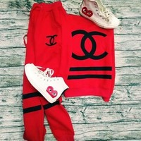 CHANEL Trending Women Print Sport Suit Stitching Color Hoodie Two Piece I