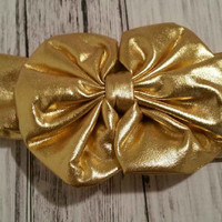 Metallic Gold Messy Bow Headand- infants gold bow, infants metallic headband, girls gold metallic headband  Ready to Ship