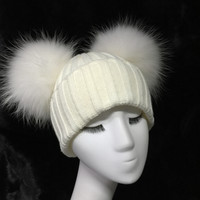 Double Raccoon Fur Pom Pom Hat White