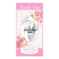 Custom Modern Floral Wedding Thank You Photo Card