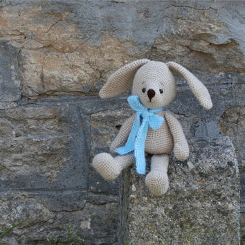 crochet bunny, amigurumi soft doll, woodland rabbit, stuffed bunny with blue bow, great gift for children, cute cuddly doll