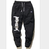 Bieber Purpose Your & champion Autumn and winter men and women casual cotton cropped trousers Black