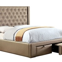 Corina collection silver leatherette upholstered crystal button tufted design queen bed set