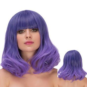 Medium Neat Bang Wavy Ombre Tail Adduction Lolita Wig