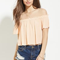 Button-Front Ruffled Crop Top