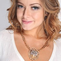 Gold Multi Rhinestone Animal Head Pendent Necklace
