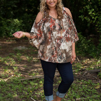 Curvy| Falling For You Tunic - Rust