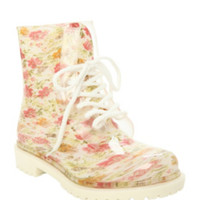 White Floral Combat Boot