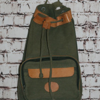90s Canvas Leather Backpack One Strap Drawstring Army Green Rucksack Purse Bag Grunge Hipster Punk Pastel Goth Festival Boho Genuine 80s